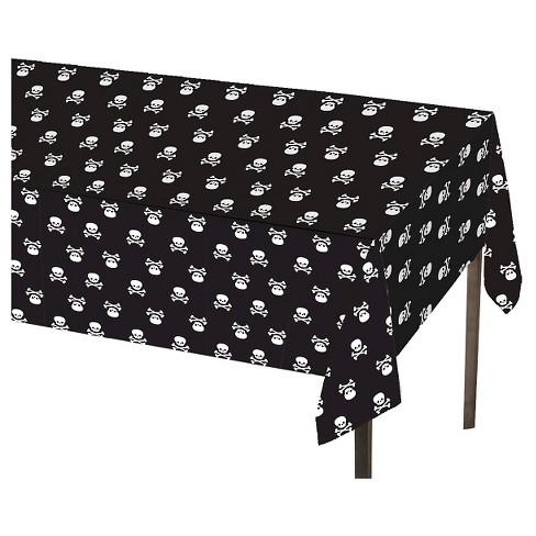 Skull & Crossbone Black Table Cover - Spritz™ - image 1 of 1