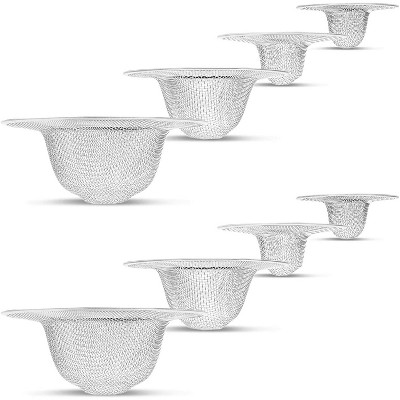 """8-Pack Juvale Kitchen Sink Strainer, Sturdy Stainless Steel Strainers Basket Catcher Set with Large Wide Rim, Size 4.4"""" / 3.5"""" / 2.8"""" / 2.2"""", Silver"""