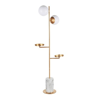 Butler Contemporary/Glam Floor Lamp with Metal Marble Base Gold (Includes LED Light Bulb) - LumiSource