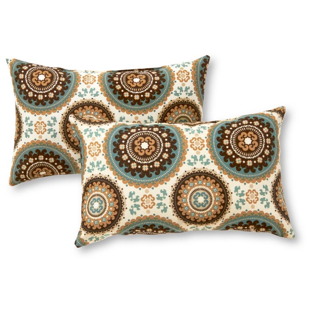 Set of 2 Spray Medallion Outdoor Rectangle Throw Pillows - Kensington Garden
