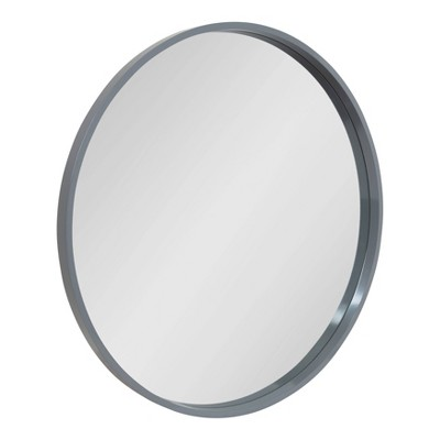 "32"" x 32"" Travis Round Wood Accent Wall Mirror Gray - Kate and Laurel"