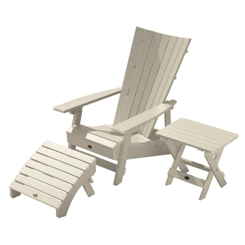Image of Manhattan Beach Adirondack Patio Chair with Side Table & Ottoman Whitewash - highwood