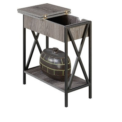Tucson Flip Top End Table With Charging Station Weathered Gray - Breighton Home : Target