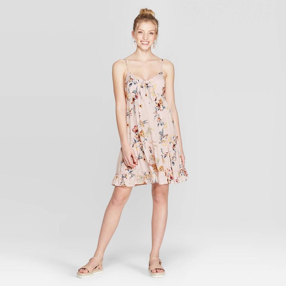 Best Price Women Floral Print V Neck Strappy Tie Front Babydoll Dress Xhilaration Blush Pink S