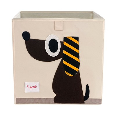 3 Sprouts Large 13 Inch Square Children's Foldable Fabric Storage Cube Organizer Box Soft Toy Bin, Brown Dog