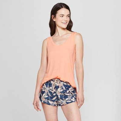 Women's Floral Print Tank Top and Shorts Pajama Set - Gilligan & O'Malley™ Peach Sorbet XL