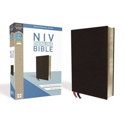 NIV, Thinline Bible, Bonded Leather, Black, Red Letter Edition - by  Zondervan (Leather Bound)