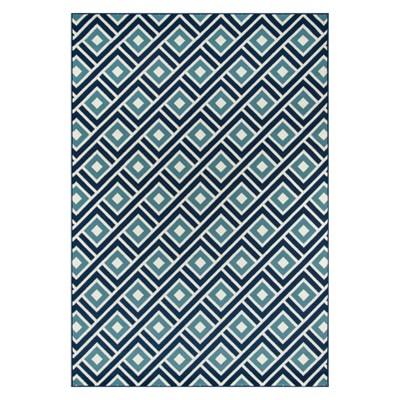 Indoor/Outdoor Blue Squares Rug