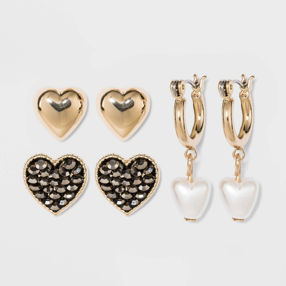 Image of Acrylic, Shiny Gold Trio Earring Set - Wild Fable , Women's, Clear