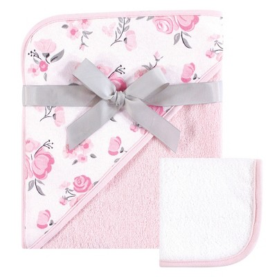 Hudson Baby Infant Girl Cotton Hooded Towel and Washcloth 2pc Set, Pink Floral, One Size