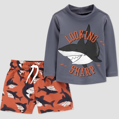Baby Boys' Shark Print Long Sleeve Rash Guard Set - Just One You® made by carter's Gray 3M
