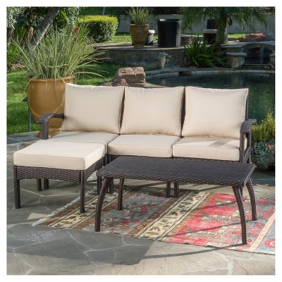 Exceptionnel Maui 5pc All Weather Wicker Patio L Shaped Sofa Set   Christopher Knight  Home