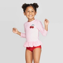 Toddler Girls' Long Sleeve Stripe Rash Guard Set - Cat & Jack™ Pink
