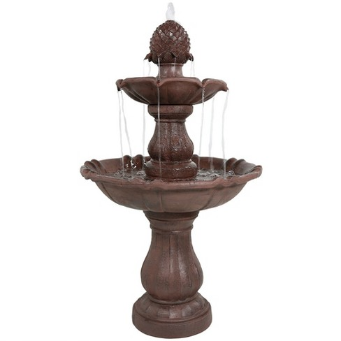 """38""""H Polyresin and Fiberglass 2-Tier Curved Plinth Outdoor Water Fountain - Sunnydaze Decor - image 1 of 4"""