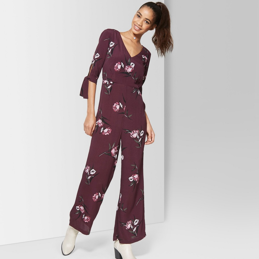 Women's Floral Print Tie Short Sleeve Jumpsuit - Wild Fable Burgundy (Red) XS
