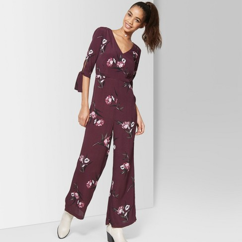e7950a8f8293 Women s Floral Print Tie Short Sleeve Jumpsuit - Wild Fable™ Burgundy XS    Target