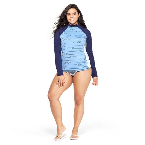 0a2ecc3758 Women's Plus Size Whale Line Graphic Rashguard - Blue - vineyard vines® for  Target