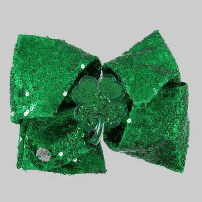 Girls' JoJo Siwa St. Patty's Sequin Bow Hair Clip with Acrylic Clover Shaker - Green