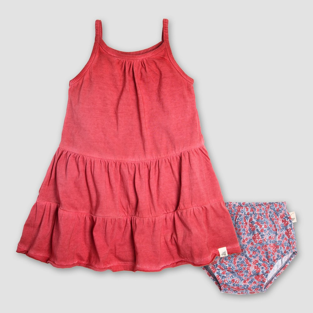 Burt's Bees Baby Girls' Organic Cotton Pigment Dyed Tiered Dress & Diaper Cover - Red 3-6M