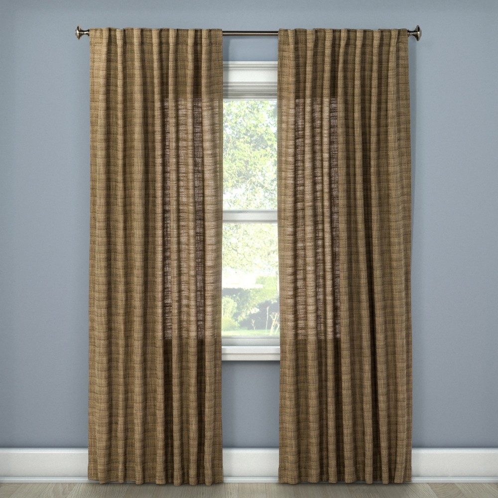 108x54 Textured Weave Back Tab Window Curtain Panel Brown - Threshold was $34.99 now $17.49 (50.0% off)
