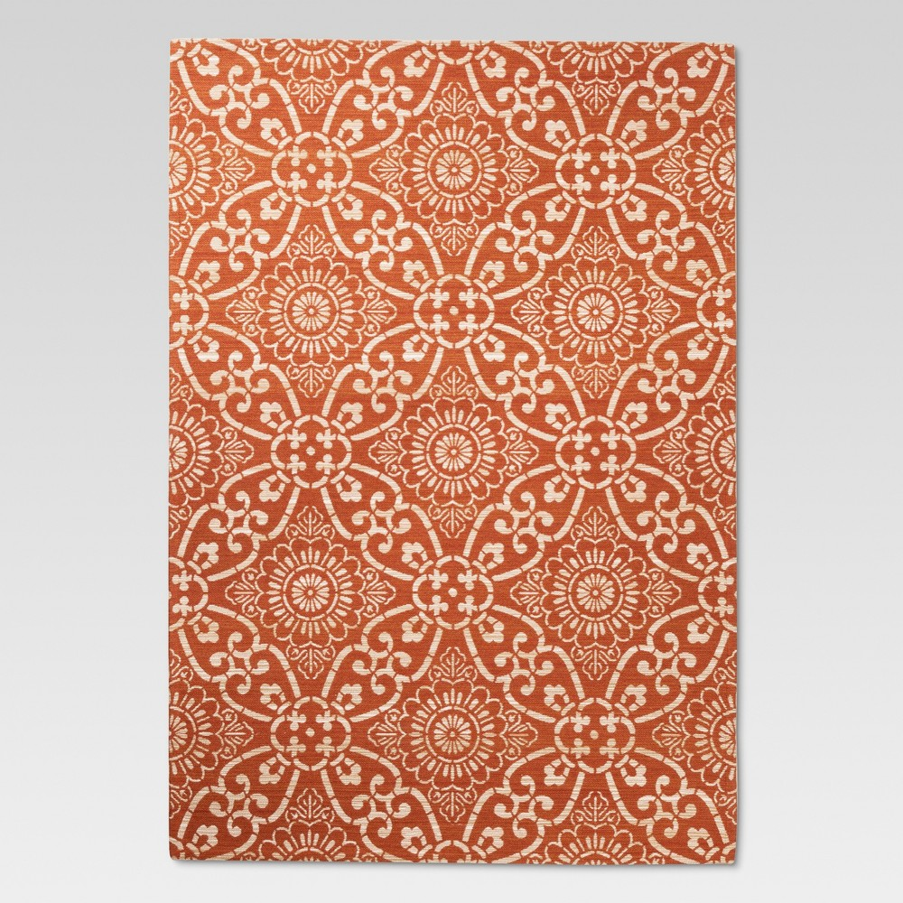 5'x7' Jacquard Area Rug Orange Coral - Threshold was $99.99 now $49.99 (50.0% off)