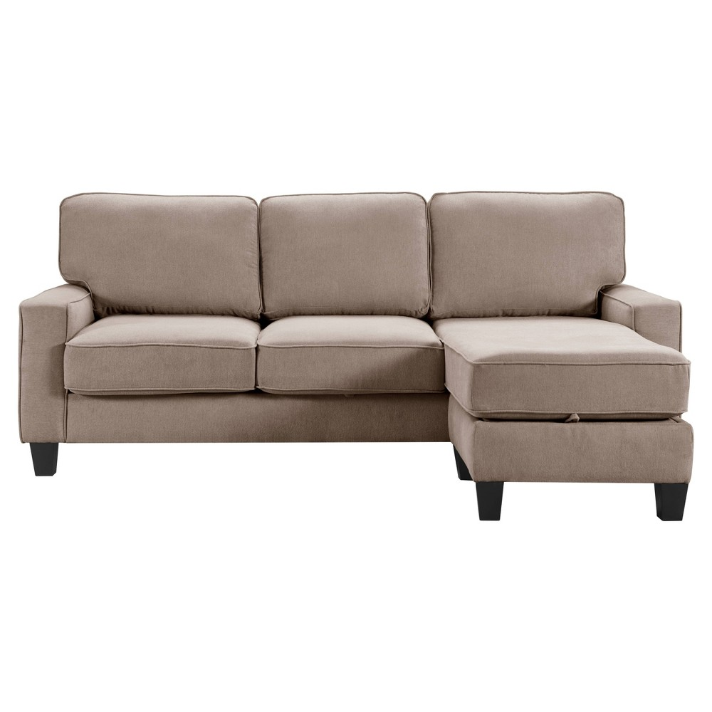 "Image of ""86"""" Palisades Reversible Small Space Sectional with Storage Soft Tan - Serta"""