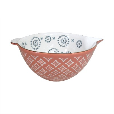 Stoneware Mixing Bowl with Gold Rim Red - Threshold™
