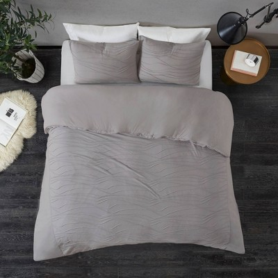 Norri Full/Queen 3pc Cotton Blend Jersey Duvet Cover Set Gray
