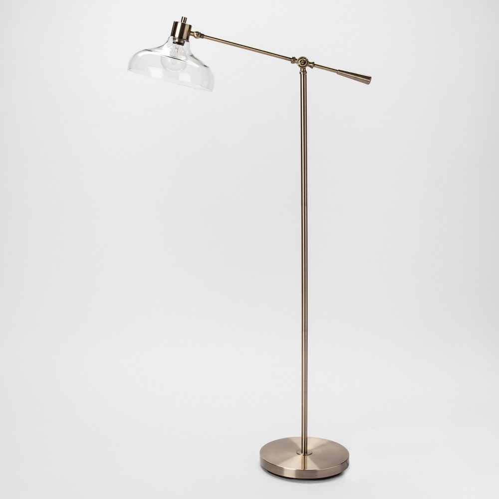 Crosby Glass Shade Floor Lamp Brass Includes Energy Efficient Light Bulb - Threshold, Gold
