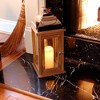 Wooden LED Lantern with Copper Roof and Battery Operated Candle Brown - LumaBase - image 4 of 4