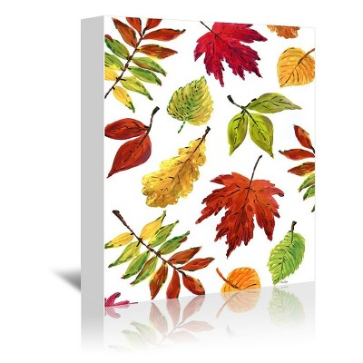 Americanflat Fall Leaves Colors By Blursbyai Wrapped Canvas : Target