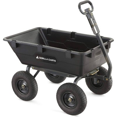 Gorilla Carts Heavy-Duty Poly Yard Dump Cart with 2 In 1 Convertible Handle Capacity