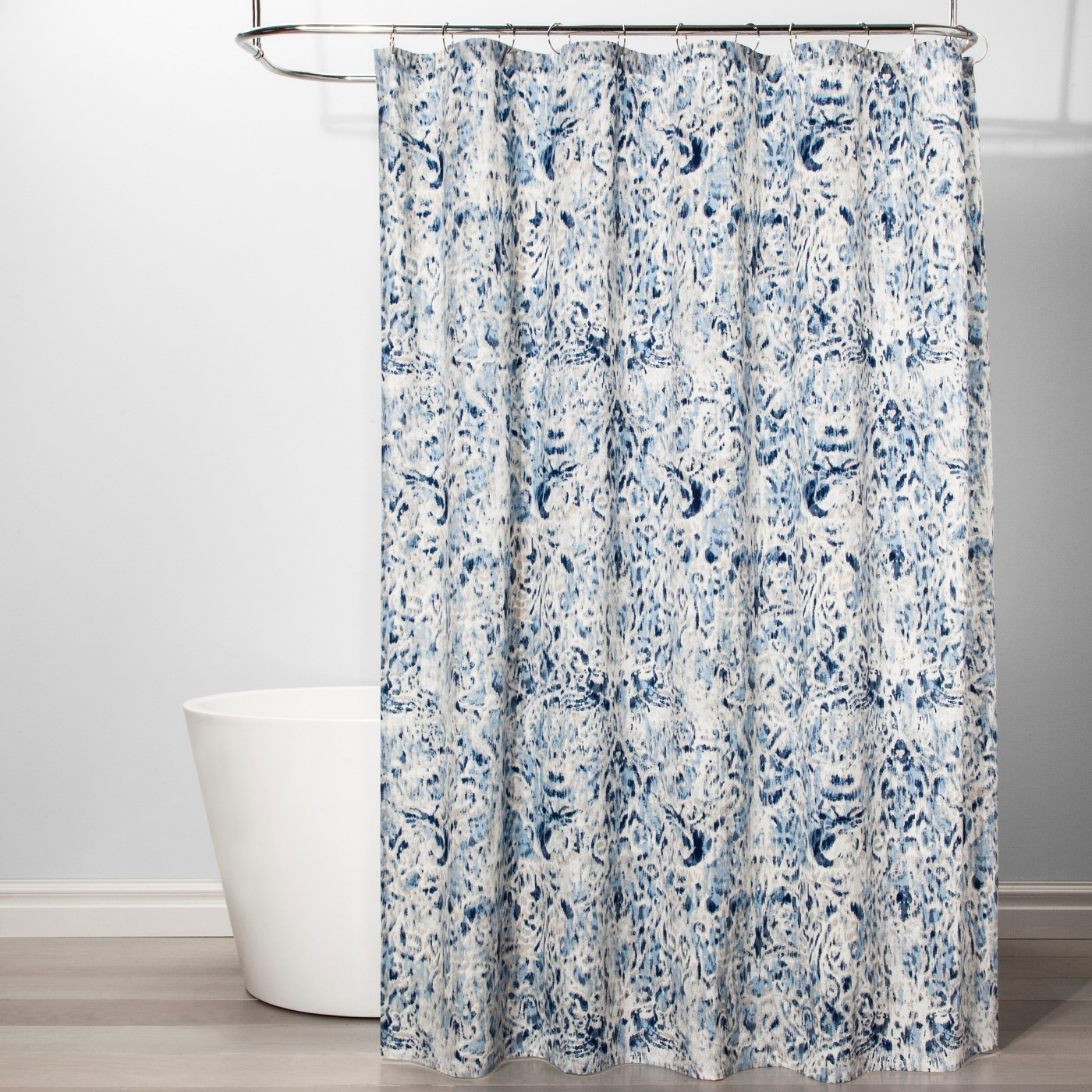 Ikat Design Shower Curtain Borage Blue - Threshold™ - image 1 of 2
