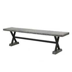 Chalmette Concrete and Steel Dining Bench - Christopher Knight Home