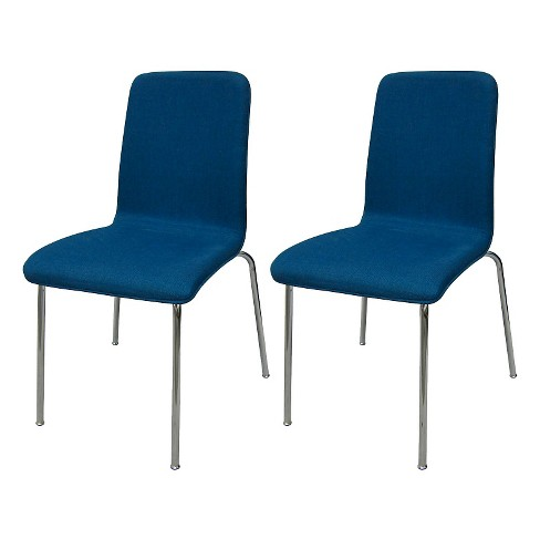 Set of 2 Upholstered Stacking Chair Turquoise Blue - ? - Room Essentials™