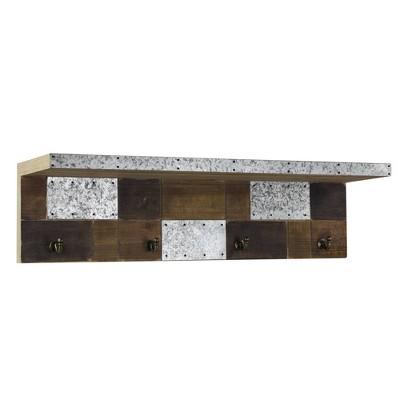 Rustic Wood/Metal Coat Rack Wall Shelf - Crystal Art Gallery