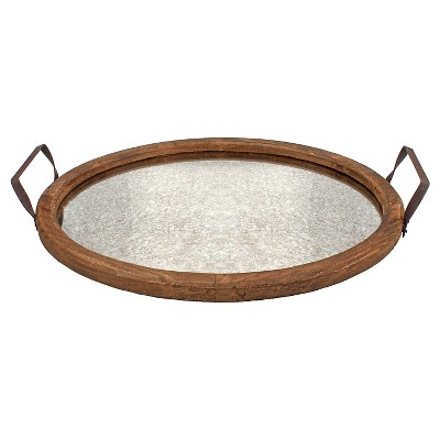 Stonebriar Oval Rustic Wooden Tray with Distressed Mirror