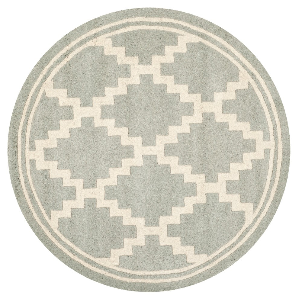 Gray/Ivory Geometric Tufted Round Area Rug 5' - Safavieh
