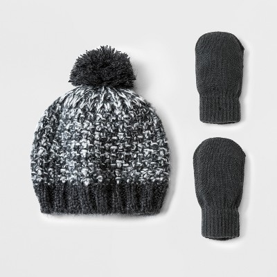 Toddler Boys' Beanie and Mitten Set - Cat & Jack™ Black 12-24M
