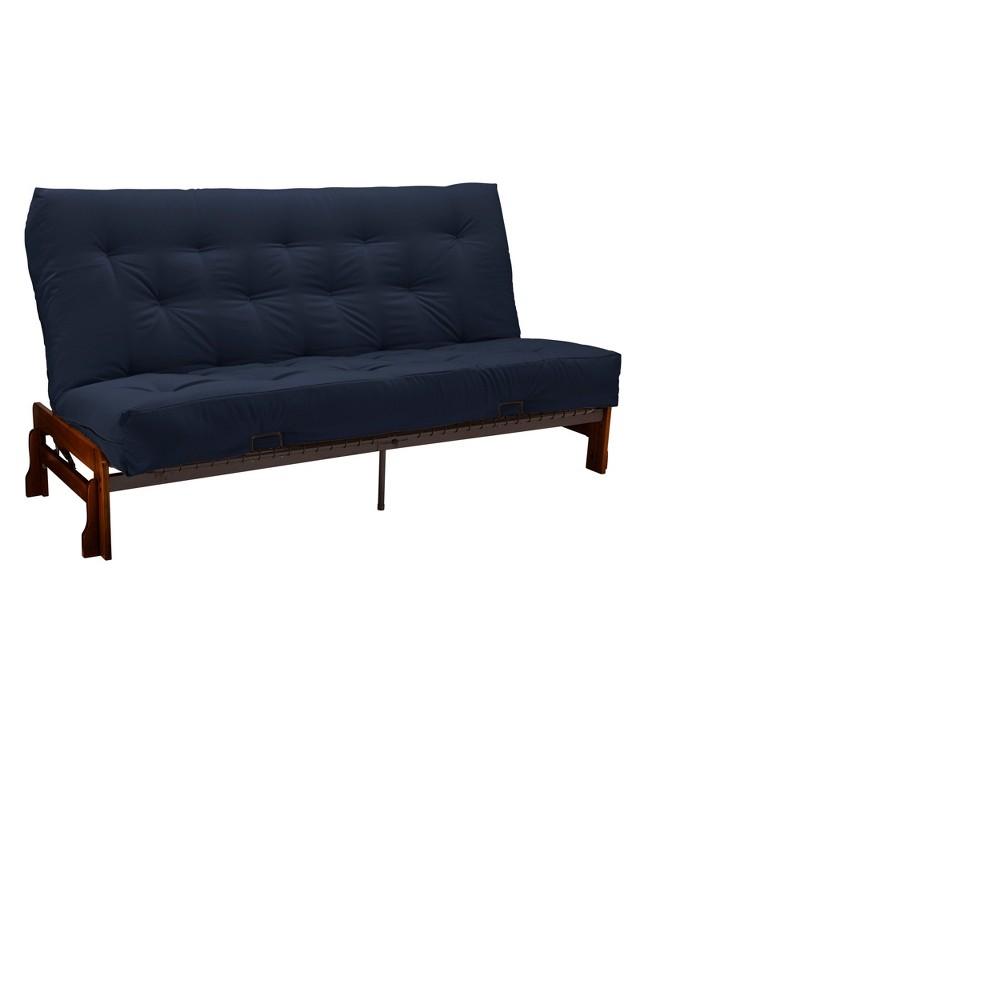 8 Low Arm Cotton & Foam Futon Sofa Sleeper Walnut Wood Finish Twill Navy - Epic Furnishings