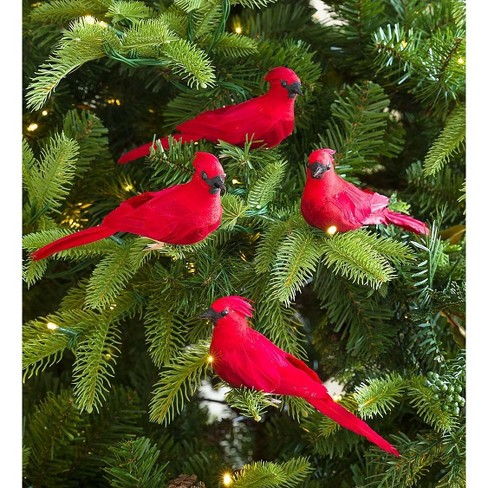 Plow Hearth Clip On Cardinal Christmas Tree Ornaments Set Of 4 Target