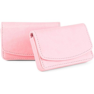 Okuna Outpost 2-Pack Pink Leather RFID blocking Wallet Magnetic Business Card Holder for Women