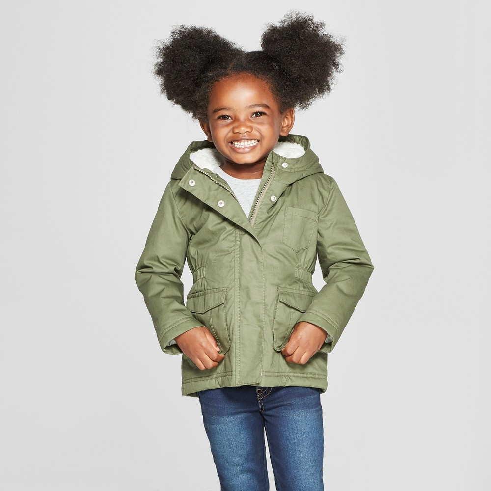 Toddler Girls' Military Jacket - Cat & Jack Green 18M