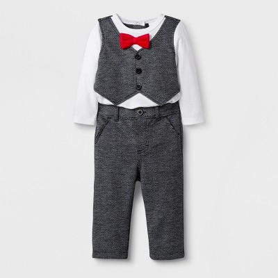 Baby Boys' 2pc Long Sleeve Bodysuit Vest and Pull On Pants Set - Cat & Jack™ Black/White 3-6M