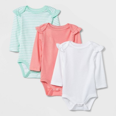 Baby Girls' 3pk Long Sleeve Basic Bodysuit - Cloud Island™ Coral 0-3M