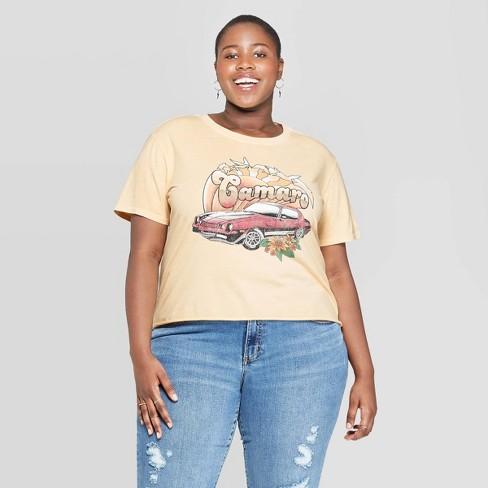 e1873e917bd9 Women's Plus Size Short Sleeve Camaro Cropped Graphic T-Shirt - Mighty Fine  (Juniors') - Cream Wash