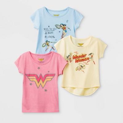 Toddler Girls' 3pk Wonder Women T-Shirt