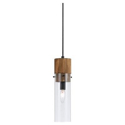Cal Lighting Spheroid Glass & Wood Pendant
