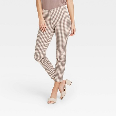 Women's High-Rise Gingham Check Skinny Ankle Pants - A New Day™ Light Brown
