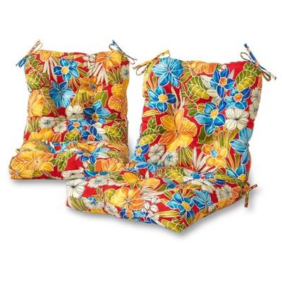 Set of 2 Aloha Floral Outdoor Seat/Back Chair Cushions - Kensington Garden